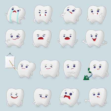 cavity braces: Teeth cartoons set. Illustrations for children dentistry about toothache and treatment. Illustration