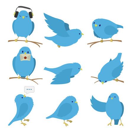 Blue birds set isolated on white background Illustration