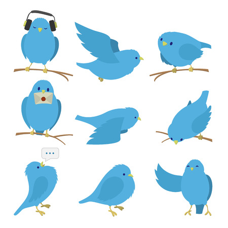 Blue birds set isolated on white background Vectores