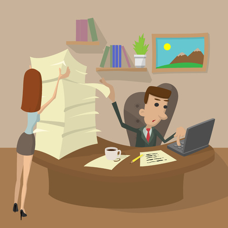 hard working man: Hard Working cartoon concept. The man behind the computer and the woman with papers