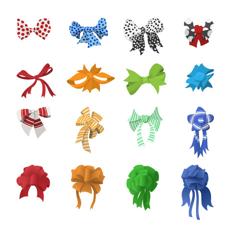 blue bow: Cartoon bows and ribbons set isolated on white background