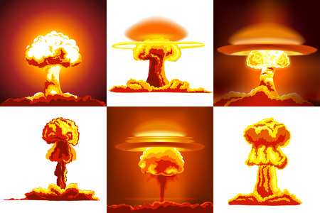 Nuclear Explosions Set. Six Different Kinds Of Explosions Vector