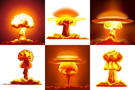 Nukleare Explosionen eingestellt. Sechs verschiedene Arten von Explosionen Standard-Bild - 47989523