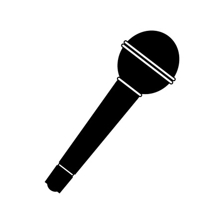 sing: Microphone black icon. Simple symbol on a white background Illustration