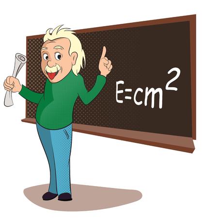 教室シーンでアルバート ・ アインシュタイン。コミック スタイル