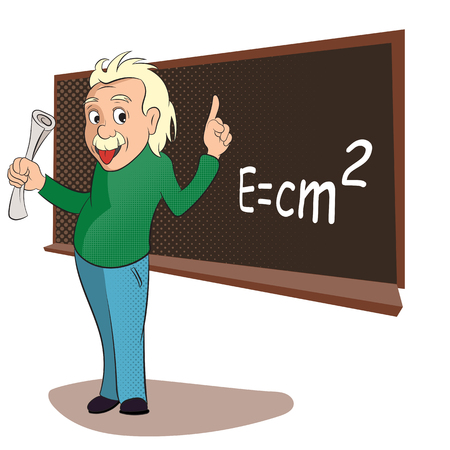Albert Einstein in a classroom scene. Comics style