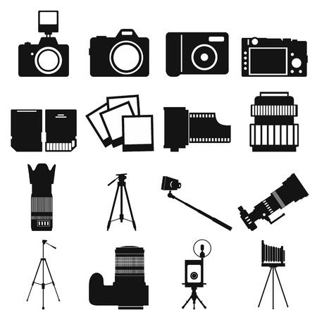 mirrorless camera: Photography simple icons set isolated on white background Illustration
