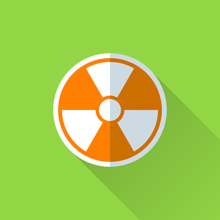 caution chemistry: Radiation flat icon. Color pictogram on the green background Illustration