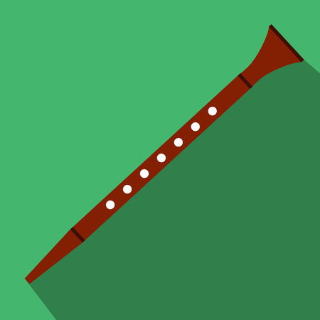 melodious: Flute flat icon for web and mobile devices