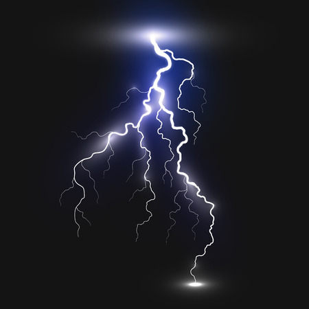 zapping: Realistic lightning sign on black background. Natural effects Illustration