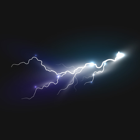 zapping: Realistic lightning icon on black background. Natural effects Illustration