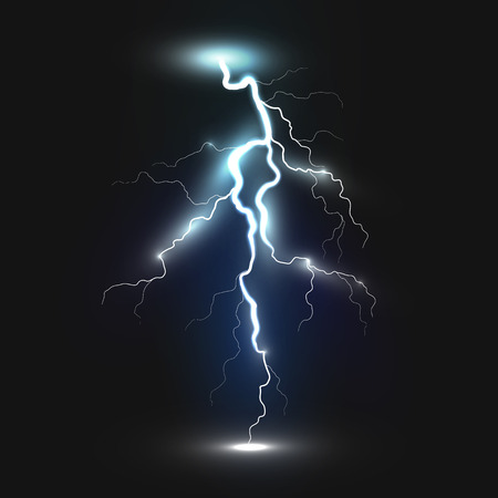 rain cloud: New realistic lightning icon on black background. Natural effects Illustration