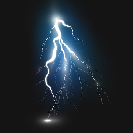 zapping: Best realistic lightning sign on black background. Natural effects
