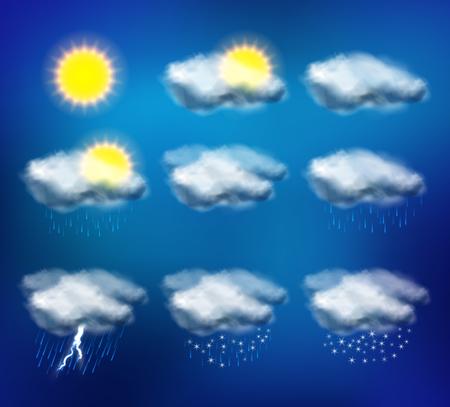 meteo: Icone del tempo fissati per i dispositivi web e mobile