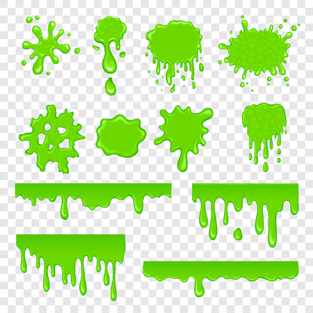 Green slime set isolated on a white