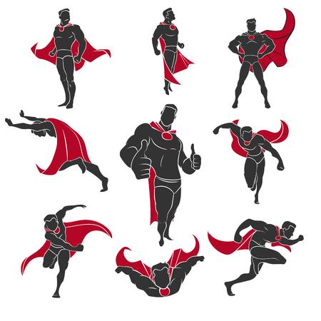 Superhero acties in stripverhalen stijl. Geïsoleerd op witte achtergrond