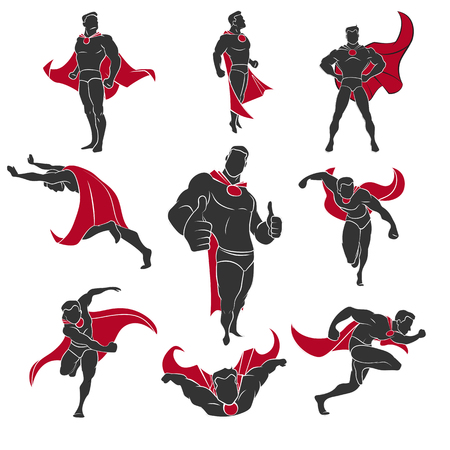 cape: Superhero actions set in comics style. Isolated on white background