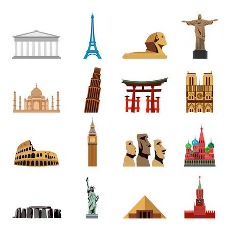 wonders: World landmarks flat icons. Set of  illustrations isolated on a white