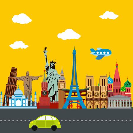 world heritage: Trip around the world color illustration. World landmarks Illustration