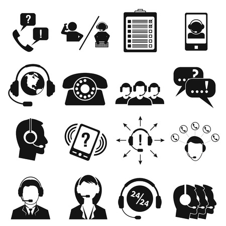 Call center service icons set. Black pictograms isolated on a white