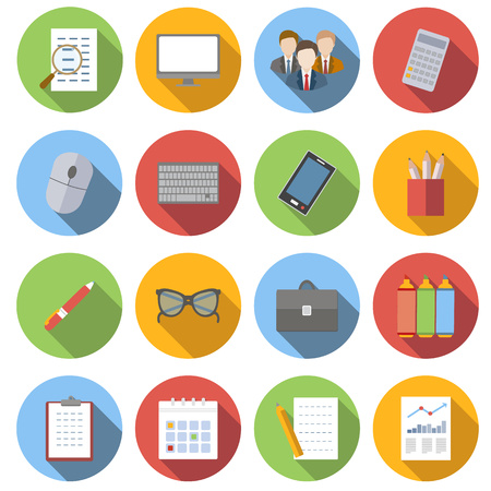 notebook icon: Business flat icons set isolated on white background