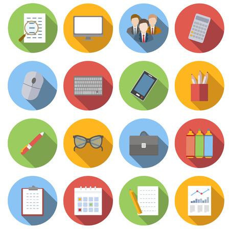 gestion empresarial: iconos planos de negocios conjunto aislado sobre fondo blanco Vectores