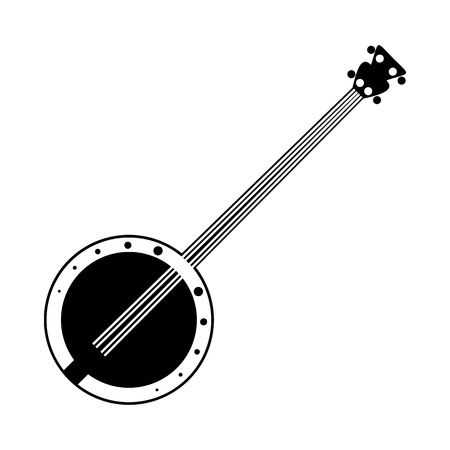resonator: Banjo black icon. Simple symbol on a white background