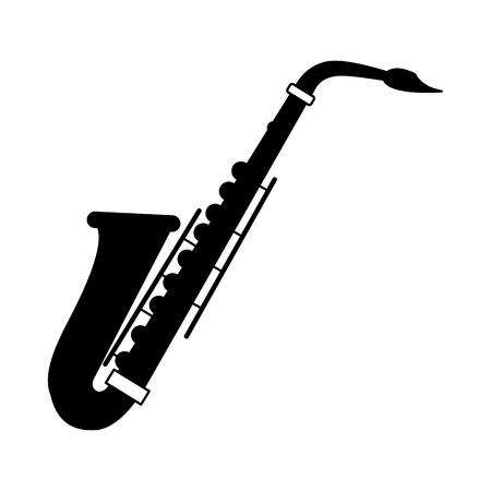 instruments de musique: Saxophone icône en noir sur un fond blanc Illustration