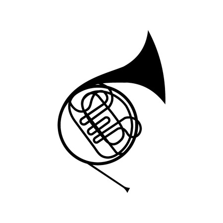 saxhorn: French horn icon. Simple symbol on a white background