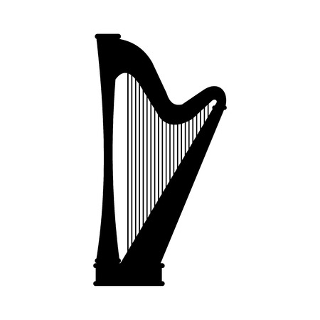 wite: Harp black icon isolated on a white