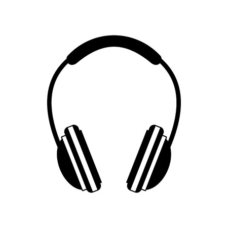 earpieces: Headphone black icon. Simple symbol on a white background