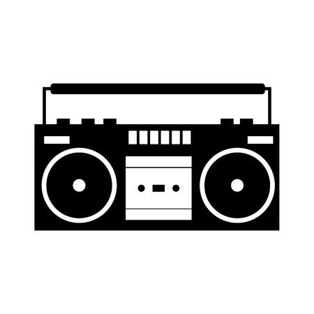 Boombox noir simple icône isolé sur blanc Illustration