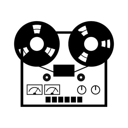リール テープ レコーダーのアイコン。白地にシンプルなシンボル