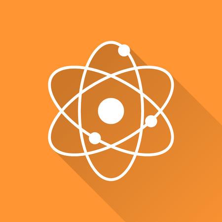 atom: Atomic model icon on orange background. Flat design