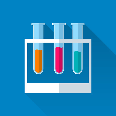 with liquids: 3 tubes with colored liquids. Flat illustration