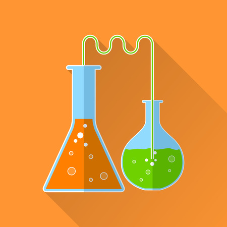 reagents: Chemical reaction flat icon. 2 flasks with reagents of different colors Illustration