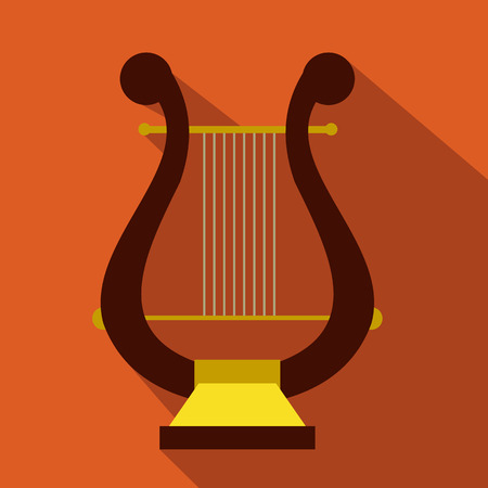 conservatory: Lyre flat icon for web and mobile devices Illustration