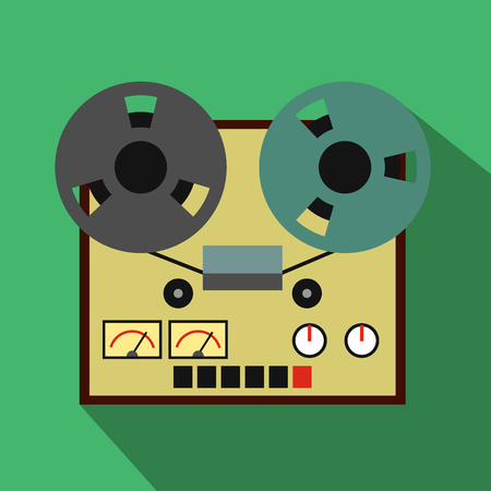 tape recorder: Reel tape recorder flat icon for web and mobile devices Illustration
