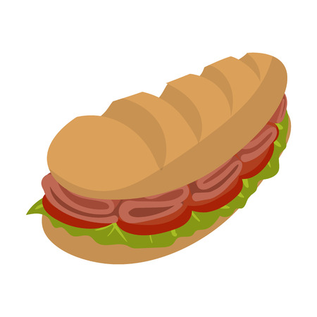 bocadillo: Sándwiches submarinos de la historieta aislado en el fondo blanco