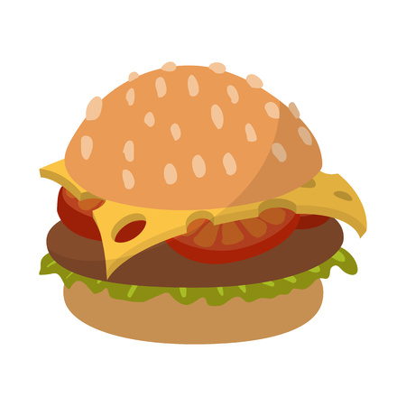 mustard seed: Hamburger cartoon sign isolated on white background Illustration