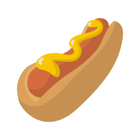 picnic food: Hot Dog in cartoon style isolated on white background