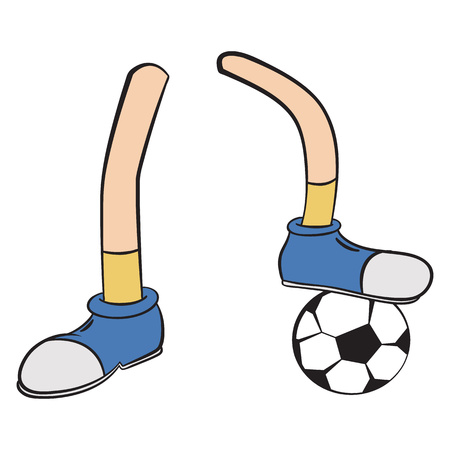 apparel part: Cartoon foot player sign isolated on white background