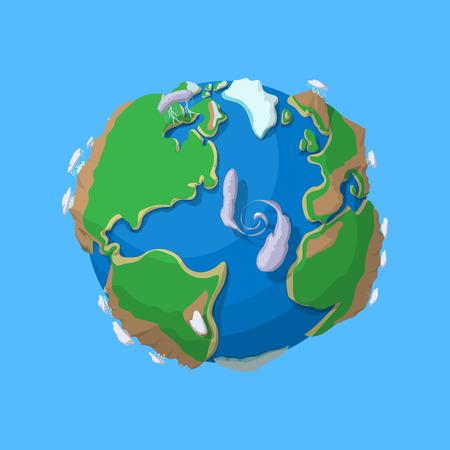 만화 지구 기호 파란색 배경에 고립