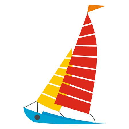 sun beach: Sailing yacht flat icon isolated on white background Illustration