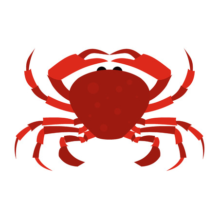 Red Crab flat icon isolated on white background