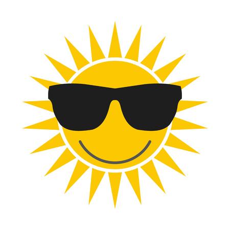 sunglasses: Sol con gafas icono plana aislado en fondo blanco