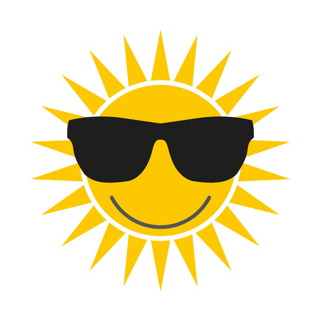 fashion sunglasses: Sun with glasses flat icon isolated on white background