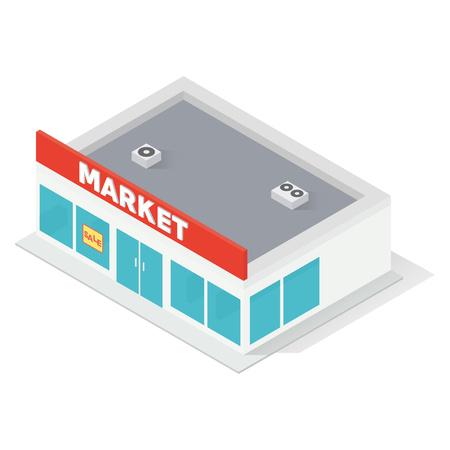 window case: New isometric supermarket building isolated on white background