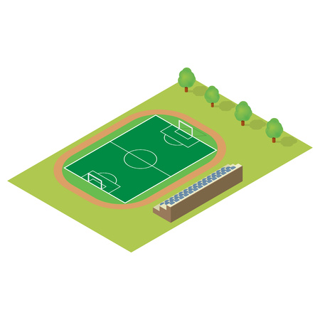 grandstand: Isometric football field isolated on white background