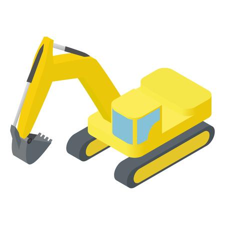 bulldozer: Isometric icon representing heavy yellow excavator isolated on white background